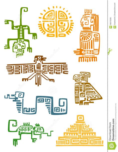 aztec and maya ornamental symbols stock vector image