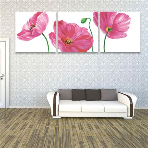 home decor wall painting flower canvas painting cuadros 3 piece modern oil paintings on canvas wall art pink poppy