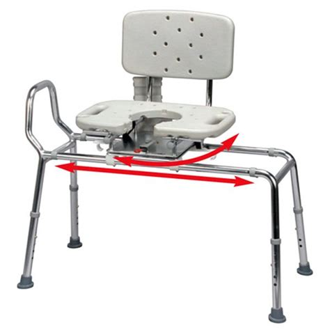 swivel sliding transfer bench snap n save sliding transfer bench with cut out swivel seat