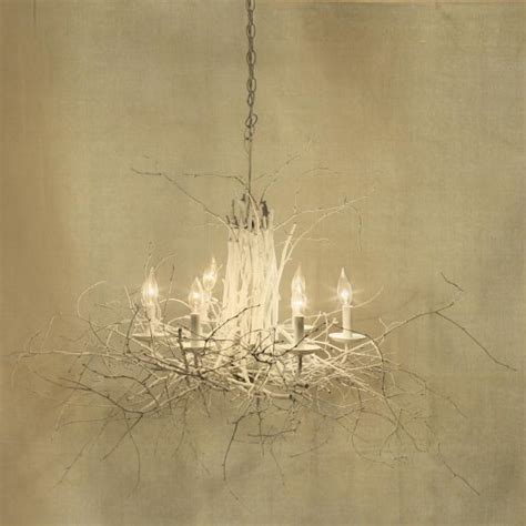 White Twig Chandelier Light Fixture Covered In White Branches
