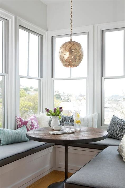 Window Seat Dining Table U Shaped Window Seat With Accent Pillows And Wood Table In Kitchen Braun