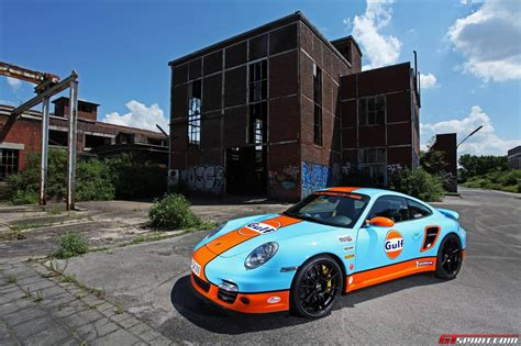 gulf car porsche 911 turbo wrapped in gulf livery gtspirit
