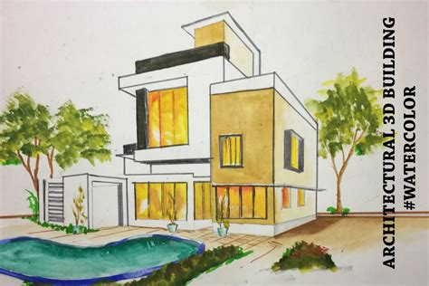 House Drawing Sketch With Color