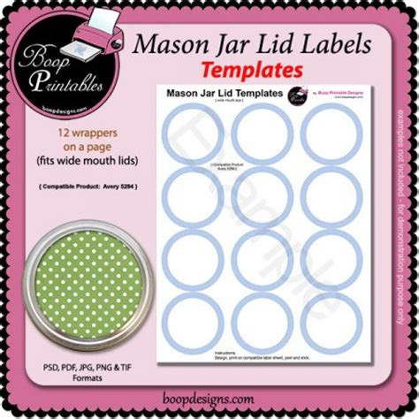 jar lid label templates 5294 by boop printable designs