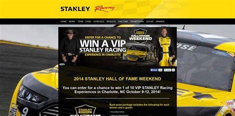 Sweepstakes In Charlotte Nc - stanley black decker hall of fame weekend sweepstakes a vip stanley racing