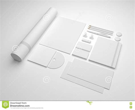 template mockup card set white 3d illustration brand mock up template stock
