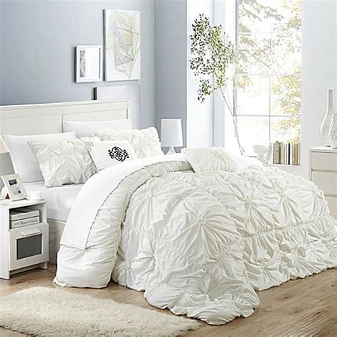 buy chic home hilton 6 piece queen comforter set in white