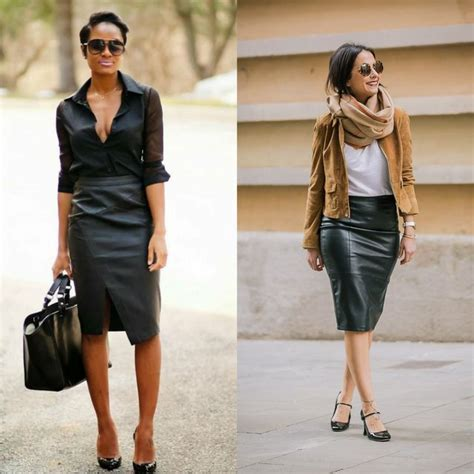 38 ideas about how to style a leather pencil skirt