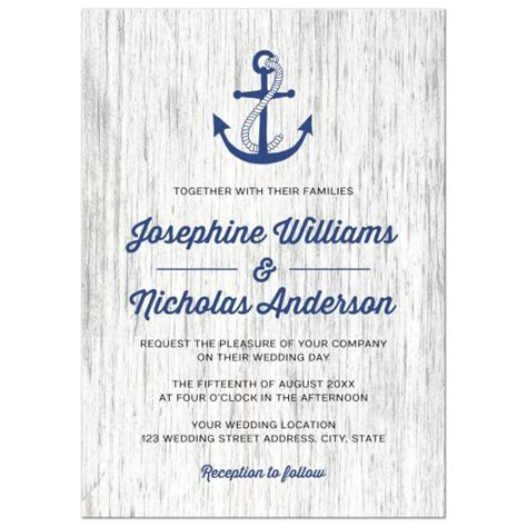 Nautical Wedding Invitations by Anchor On Rustic Wood Background Nautical Wedding Invitation