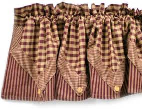 Maroon lined five point valance primitive decor
