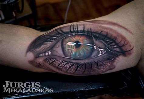 realistic eye on guys bicep best tattoo design ideas