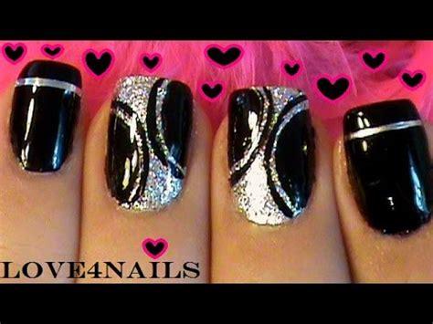 imagenes de uñas negras con plateado arte de u 241 as facil y sencillo negro y plateado youtube