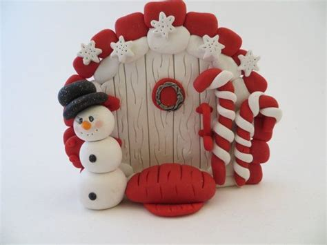 polymer clay christmas fairy door by imaginationsinclay on
