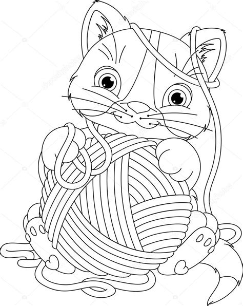 coloring pages for yarn kitten with yarn coloring page stock vector