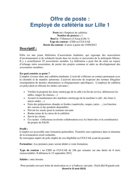Lettre De Motivation De Avs Employ 233 Caf 233 T 233 Ria 224 Lille 1 Pdf Par Bout S Fichier Pdf
