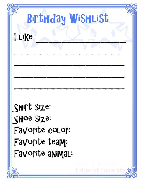 birthday gift list template edge of insanity free birthday wishlist printable