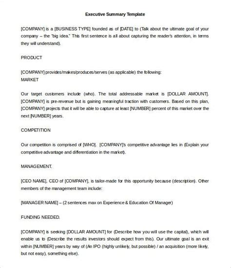 executive report template doc executive summary template free premium