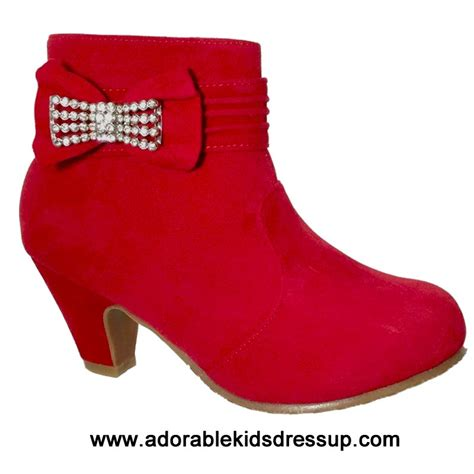 adorable kids dress up kids high heels shoes girls tea dressy girls ankle boots red high heel ankle boots for kids