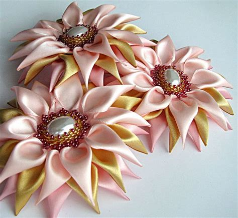 Handmade Flower Brooches - satin handmade flower brooch kanzashi flower pink gold