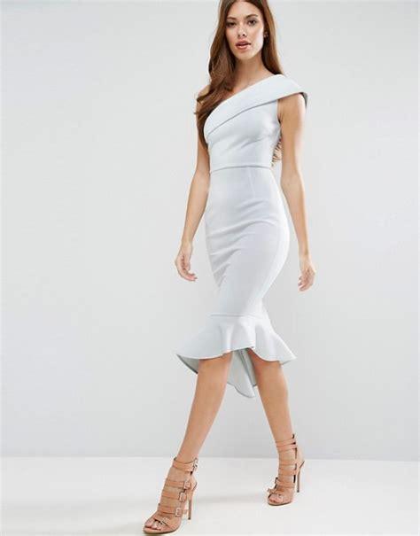 Mididress Scuba Biru 1 asos asos scuba one shoulder peplum midi dress