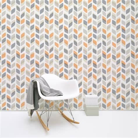 pattern wall covering retro 60s 70s wallpaper vintage geometric abstract leaf