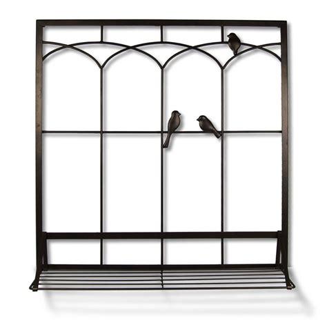 birds in window with shelf 28 in w x 30 in h metal wall