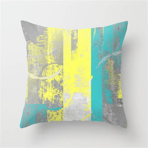 Teal And Yellow Throw Pillows by Teal Yellow Pillow Cover Decorative Pillow Throw Pillow