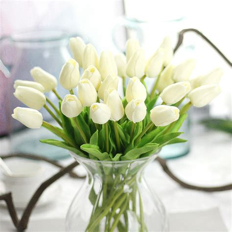 floral home decor silk rose arrangements tulip floral artificial silk fake tulip flower floral wedding bouquet