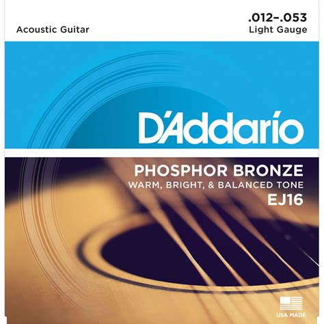 guitar strings light d addario ej16 light phosphor bronze acoustic guitar ej16 b h