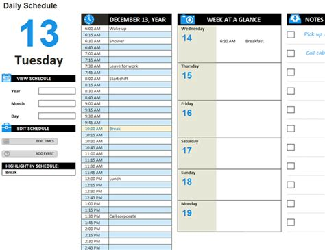 daily tasks schedule templates card for daily work schedule