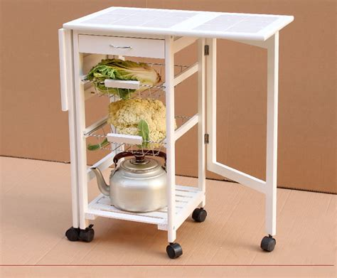 fold kitchen cart storage wood drop leaf island serving