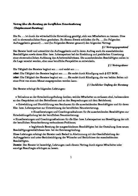 Angebot Muster Beratung Vertrag 252 Ber Eine Outplacement Beratung