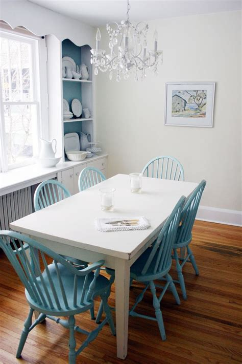 colored chairs white table interiors