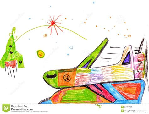 Airplane Children S Drawing Stock Illustration Image 24381638 Children Drawing Picture