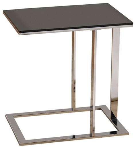 side accent tables c style glass accent table chrome and black