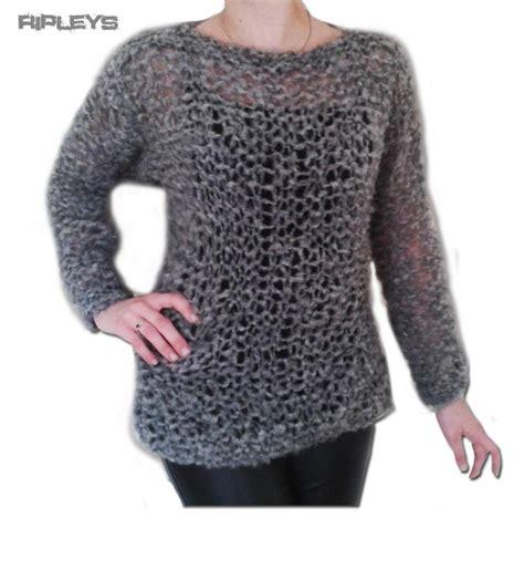 knitting pattern holey jumper ripleys clothing grey mohair fluffy holey top knit jumper