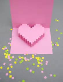 Popup Card Templates Valentines Day Pixelated Popup Card