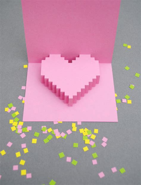 3d pixel card template valentines day pixelated popup card minieco