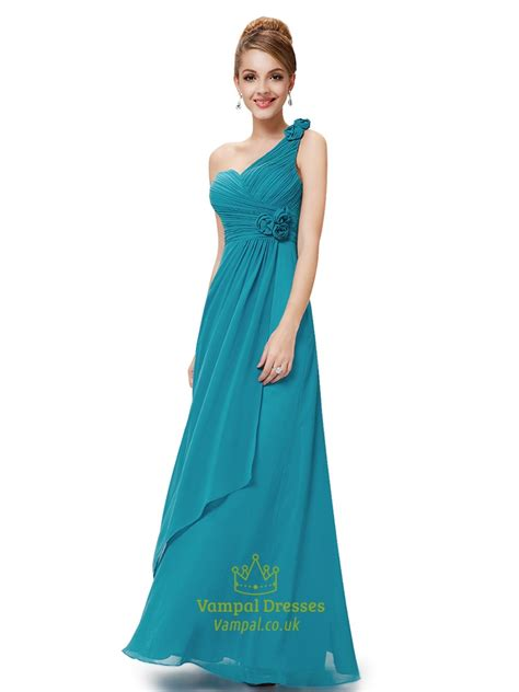 Teal One Shoulder Bridesmaid Dress,Teal Bridesmaid Dresses