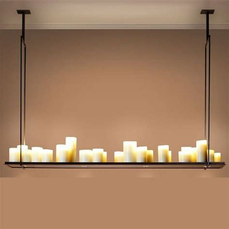 Rectangle Candle Chandelier American Country Large Living Room Dining Room Rounded Rectangular Led Resin Candle Chandelier