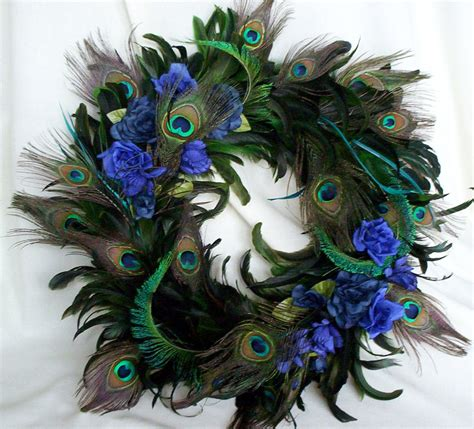 peacock decoration peacock feather wreath teal royal blue home decor by amorevivo