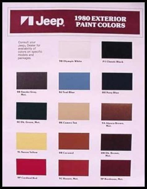 1980 amc jeep color paint chips brochure ebay