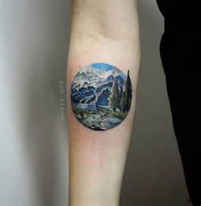 trees and mountains tattoo by ksu arrow