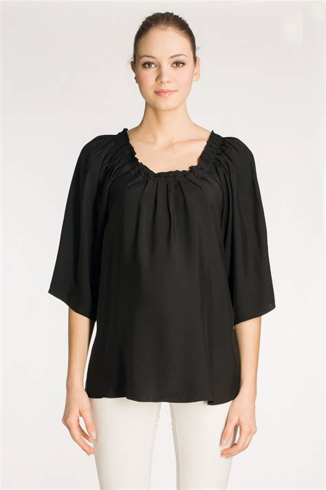 Drape Tops menorca evening drape top with pleated neckline and fit