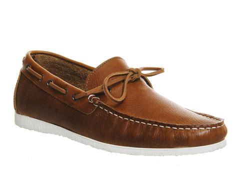 ask the missus draft boat shoes tan leather casual - Boat Shoes Office