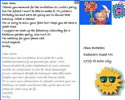 Modèle De Lettre D Invitation En Anglais Dialogue Courrier Pour Refuser Une Invitation Anglais