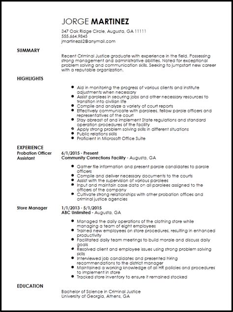 Probation And Parole Officer Sle Resume by Free Entry Level Probation Officer Resume Template Resumenow