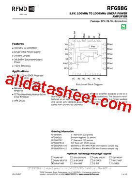 datasheet of rf diode rf6886 datasheet pdf rf micro devices
