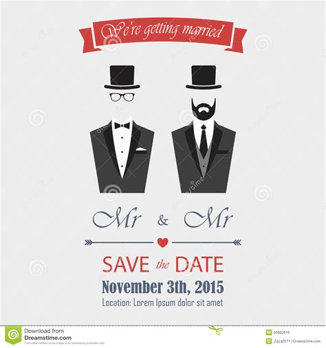 gay wedding invitation stock vector illustration of