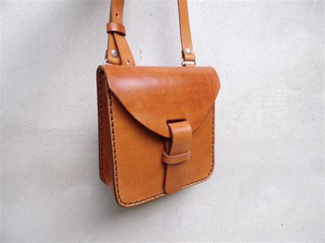 Handmade Leather Purse - leather crossbody bag small handmade leather bag with